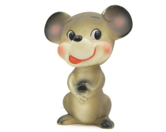 Vintage 60s Rubber Squeaky Toy Mouse Ninohira Japan