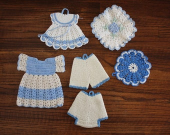 Crocheted Pot Holders Hot Pads Coasters Set of 6 Blue and White Vintage