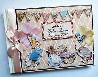 Peter Rabbit Girl Birthday/Baby Shower Guest Book Personalised Memory Book  - any design