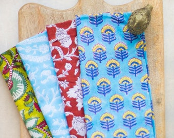 Block print cloth napkins - set of 4 - mixed block prints - Block printed fabric - 100% cotton dinner napkins - picnic - summer napkins