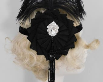 Black Flapper Burlesque Headpiece With Cocarde And Vintage Tassel