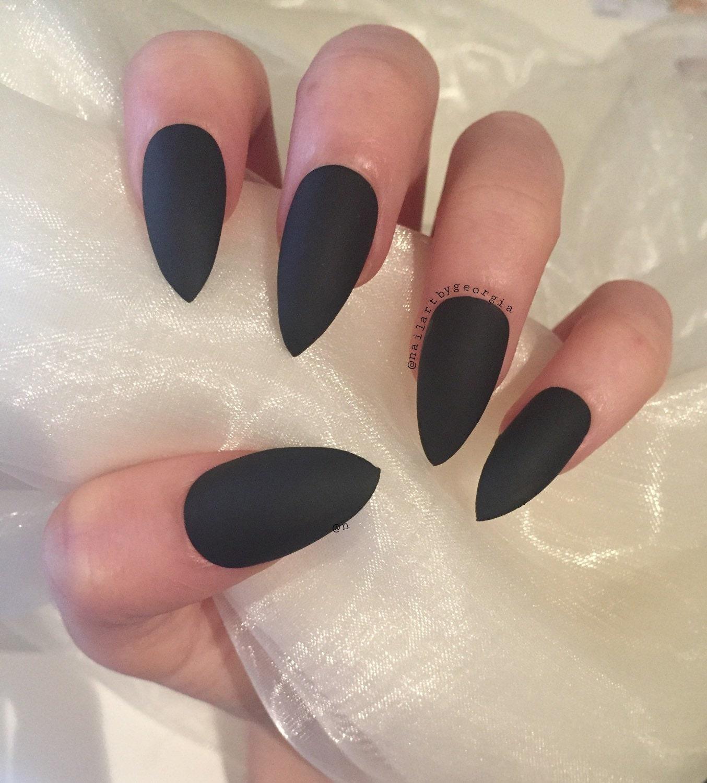 Matte Black Stiletto Nails – Fashion dresses