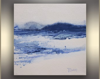 "8"" White Blue, Watercolor Painting, Canvas Art, Abstract Landscape, Indigo, Abstract Art, Original Art, Blue Painting, Mothers Day Gift"