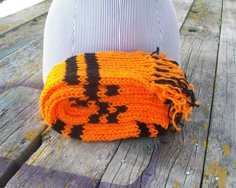Knitted Orange and Black Striped Long Scarf Ready To Ship