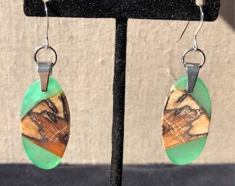 Beautiful Spalted Birch and Green Resin Earrings
