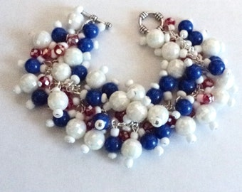 Patriotic Bracelet, Red White and Blue, Chunky Beaded Bracelet, Patriotic Jewelry, Fourth of July Bracelet, All American - American Flag