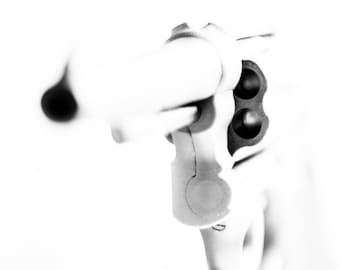 Black and White Art Photograph WWII Era Smith and Wesson 38 Service Revolver Gun Art - Art Photography by Sarah McTernen
