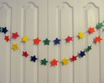 Stars Paper Garland, Primary Color Stars - Birthday Party - Party Decor - Bridal Shower Decor - Star Garland