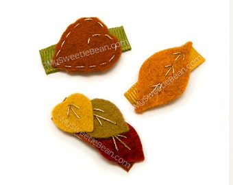 Fall Baby Barrettes, Mini Autumn Leaves, Leaf Barrettes, Fall Leaves, No Slip Snap Clips, Embroidered Felt Leaves, Felt Baby Clips
