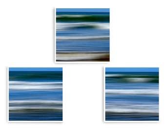 Ocean Wall Art, Coastal Decor, Abstract Sea Art, Blue Wall Prints, Set of 3 Prints, Large Wall Art, Square Art Prints, Wave Art Print