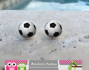 Soccer Ball Earrings, Soccer Jewelry, Soccer Accessories, Personalized Soccer,Gifts for Her, Gifts under 10