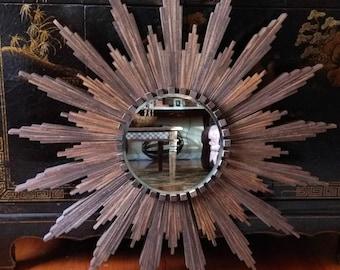 """Sunburst Mirror in dark walnut stain (appx 32"""" diameter)"""