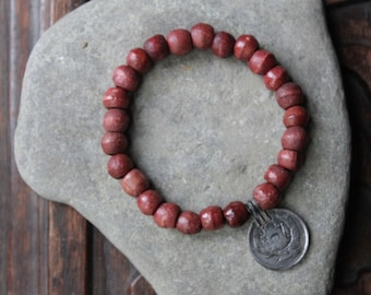 Campos Stretch Mala Style Gypsy Stacking Bracelet with Reclaimed Vintage Wood Beads and Afghani Coin Pendant