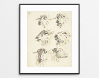 Sheep Print - Country Decor - Country Wall Art- Vintage Sheep Illustration - Farmhouse Decor - Rustic Art - Rustic Wall Art - Farm Animal