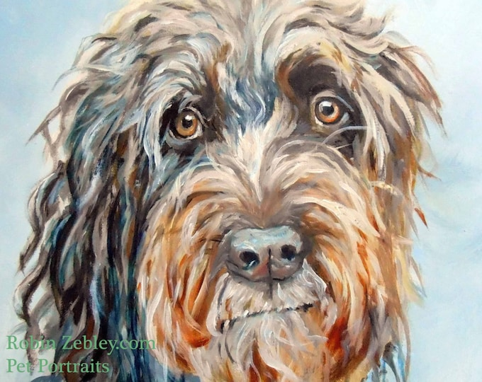 "Wire Haired Pointing Griffon Custom Pet Portrait Oil Painting, 8 x 10"" Animal Art"