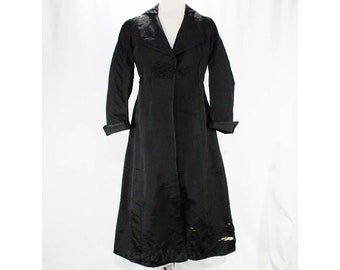 As Is Size 10 Antique Coat - Black Titanic Era 1910s Silk Coat with Frog Closure - Late Edwardian Era - Torn & Fragile - Bust 38 - 47349