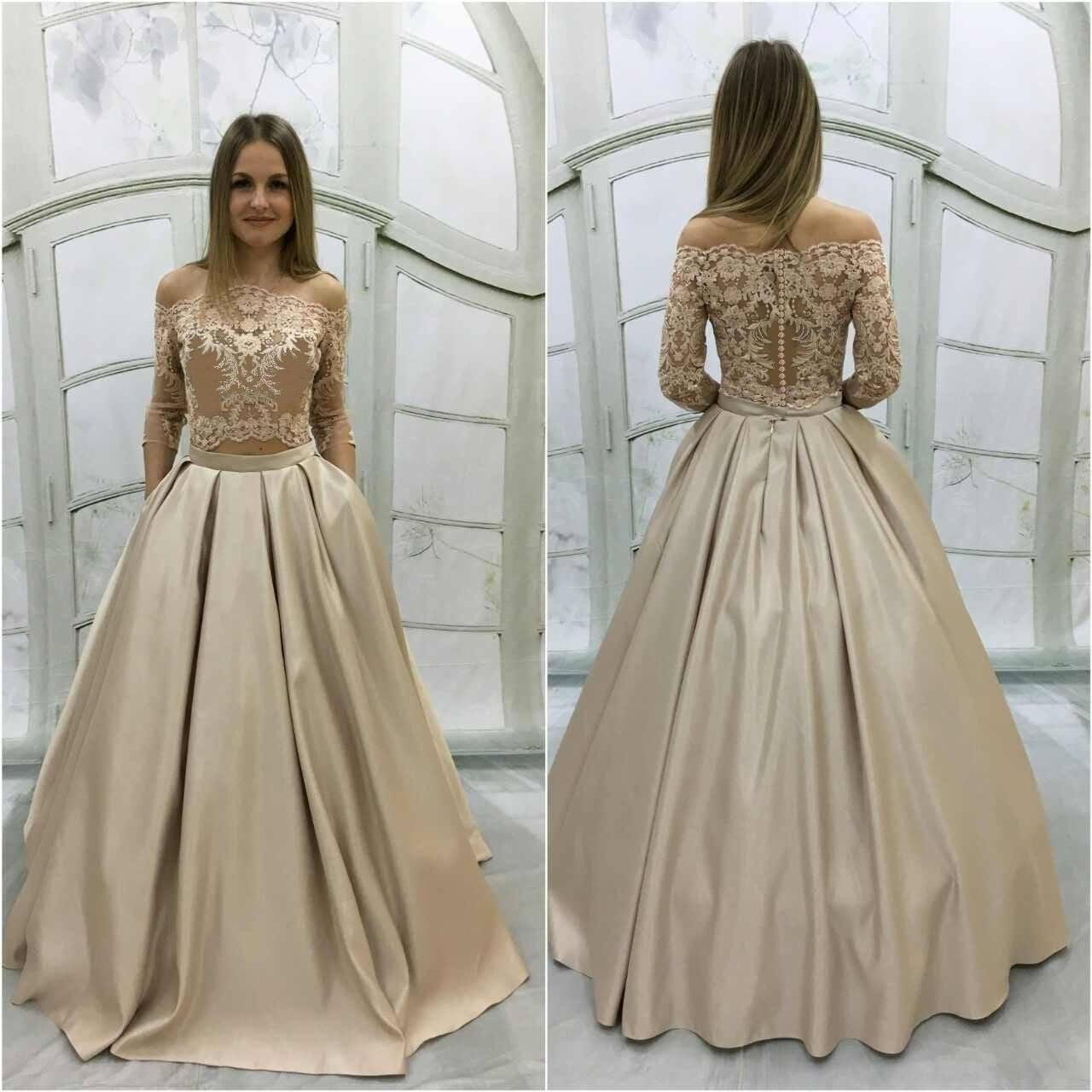 Beige wedding dressVintage Atlas Wedding Dress with Lace