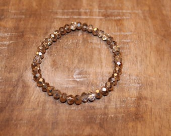Light Gold and Silver Crystal Rondelle Stretch Bracelet
