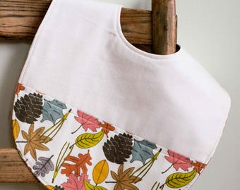 Colorful Leaves Toddler Bib; Forest, Nature, Leaf, Organic Cotton Highchair Feeding Bib; Modern Bib for Toddler, Baby; Handmade in Canada