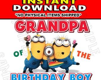 Instant Digital Iron On JPG File Download - Disney Minions Stuart Kevin and Bob Grandpa of the Birthday Boy design for DIY T-Shirt