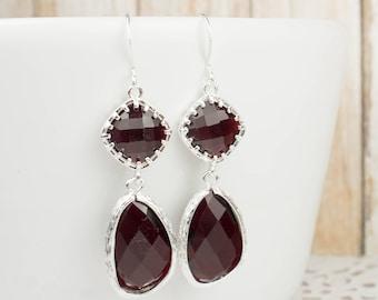 Long Garnet Silver Earrings, Large January Birthstone Silver Earrings, January Birthstone Jewelry, Bridesmaid Earrings, Wedding Jewelry