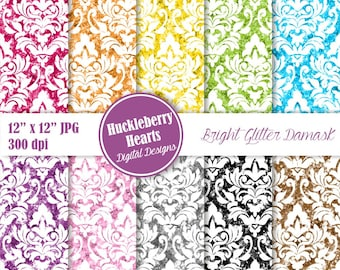 Glitter Damask, Digital Damask, Damask Paper, Glitter Digital Paper