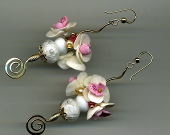 """Earrings """"Bouquet of orchids"""" 24KT Gold PLAQUEOR/plated"""
