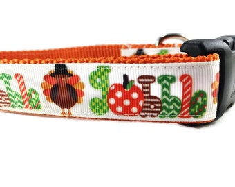 Thanksgiving Dog Collar, Gobble, 1 inch wide, adjustable, quick release, metal buckle, chain, martingale, hybrid, nylon