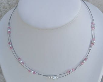 Wedding necklace white pearls and pink
