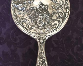 Vintage Art Nouveau Victorian Repousse' Antique Hand Mirror- Maiden & Flowers