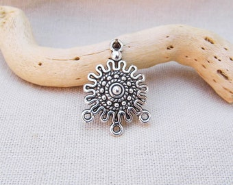 Connector Aztec sun 18 x 27mm silver aged, 5 pieces, thin stock