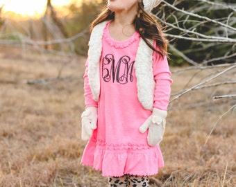 Monogram Long Sleeve Dress | Monogram Ruffle Dress | Girls Monogram Dress | Long Sleeve Dress | Monogram Pink Dress | Gifts under 30