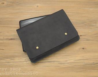 Black Genuine Leather macbook sleeve,macbook case,laptop sleeve,macbook pro case,macbook air case,macbook cover,macbook air,11 12 13 15 inch