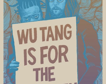 """Wu Tang Clan themed screen printed art print """"The Heart Gently Weeps"""" by Brian Methe"""