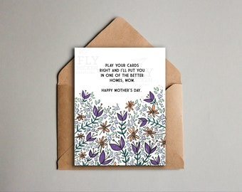 Funny Mother's Day Card Printable - Colorful Purple Flowers + Sarcasm - Warning for Mom - Happy Mother's Day - Instant Digital Download