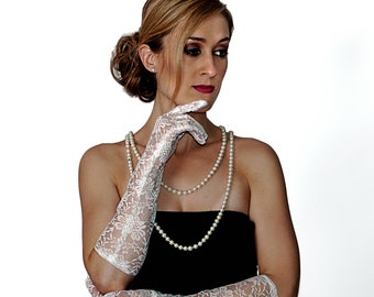 White Lace Elbow Length Gloves