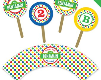 Sesame Street Party - Personalized DIY printable cupcake wrapper and topper set