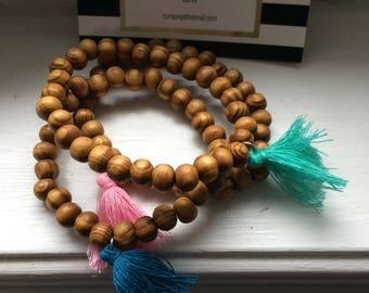 Tassel Bracelet Colorful Wood Beaded Tassel bracelet set of 3. Stacked Beaded Tassel Bracelets. Trendy Boho Stackable Stretch Bracelets