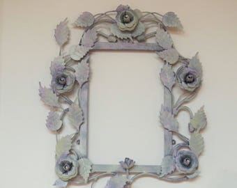 Shabby metal frame, metal roses, metal flowers, painted frame, empty wall frame, metal picture frame, metal decor, rustic metal frame