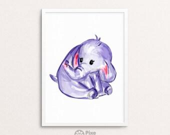 Little Elephant Watercolor clipart, elephant painting, cute elephant, elephant drawing, dumbo, safari nursery print, baby elephant print