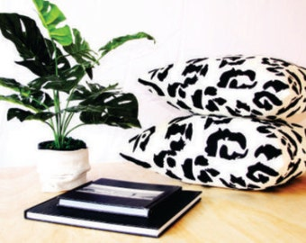 Modern animal print natural linen cushion. Monochrome. Black and White. Tropical vibes. Two sizes available