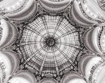 Paris Photography - Black and White Ceiling at Galeries Lafayette, Architectural Wall Decor, Fine Art Photograph, Paris Print