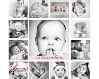 Baby gift, Framed, Birthday Photo collage, 12 x 12 inches, Daughter gift, My first year, 1st Birthday, Montage, Birthday, baby photo print
