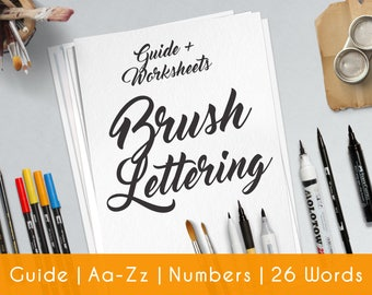 Brush Hand Lettering | Pratice Sheets | beginners | Printable | Lettering  Worksheets | Learn Calligraphy | Hand Lettering workbook | B5