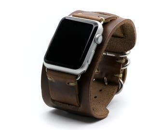 Apple Watch Band Leather Cuff Strap by E3 Supply Co. - Natural Chromexcel