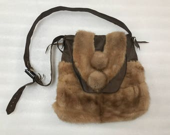 Hand made mink fur shoulder bag
