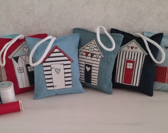 Lavender Bags - Beach Huts - Door Hangers - Nautical Gift - Wardrobe Lavender Bag - Bathroom Door Hanger - Red, White & Blue - Scented Bag
