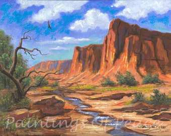 Red Rock Painting - Red Desert Painting - Red Caynon Painting - 11 x 14