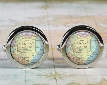 Kenya cuff links, Kenya map cufflinks wedding gift anniversary gift for groom map cuff links groomsmen best man Father's Day gift