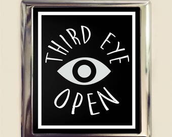 Third Eye Open Cigarette Case Business Card ID Holder Wallet Consciousness Festival Accessory DMT Awareness Psychedelic